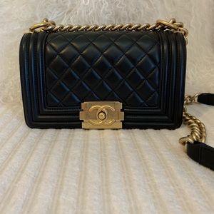 Chanel Small Boy Bag black gold